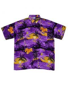 Hawaiian Shirt With Yatch Purple