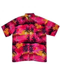 Hawaiian Shirt With Yatch Pink