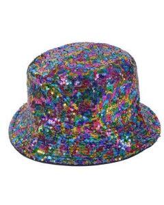 Rainbow Sequin Bucket Hat