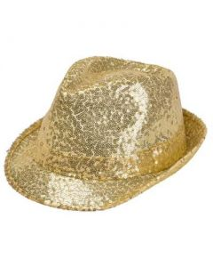 Gold Sequin Trilby Hat