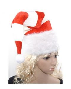 Christmas fancy dress striped santa hat high quality with wire.