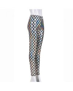 Silver Scale Laser Effect Leggings