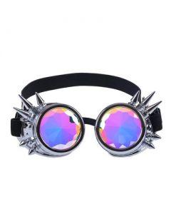 Kaleidoscope Steampunk Goggles Silver Spike