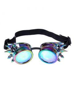 Neon Chrome Kaleidoscope Steampunk Goggles