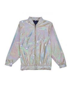 Silver Holographic Bomber Jacket