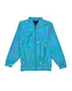 Turquoise Holographic Bomber Jacket