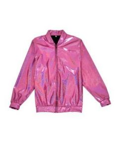 Pink Holographic Bomber Jacket
