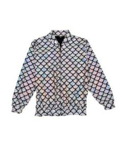 Silver Scale Holographic Bomber Jacket