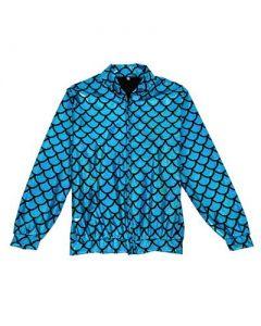 Turquoise Scale Holographic Bomber Jacket