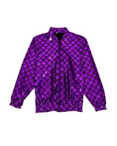 Purple Scale Holographic Bomber Jacket