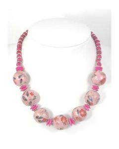 A heavy, ceramic bead necklace