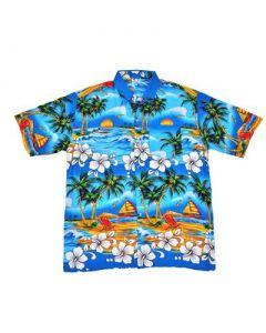 Hawaiin Shirt With Palm Tree Turquoise