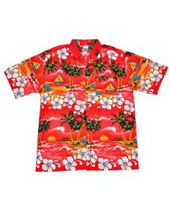 Hawaiian Shirt With Palm Trees Red