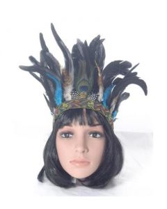 Feather headdress blk and turquoise