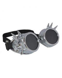 Steam punk goggles w rivet silver