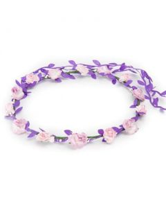 Flower garland pink and lilac w purple trail
