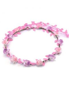 Flower garland pink and lilac w pink leaves