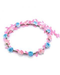 Flower garland pink, blue w baby pink trail