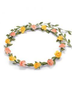 Flower garland yellow and peach