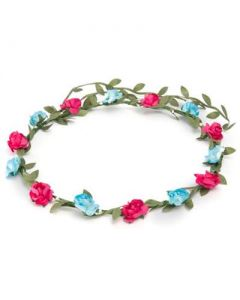 Flower garland fuschia and turquoise