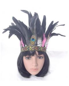 Feather headband black and pink