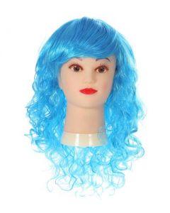 Long Curly Turquoise Fringe Wig