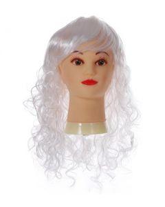 Long Curly White Fringe Wig
