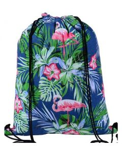 Blue Flamingo Draw String Bag