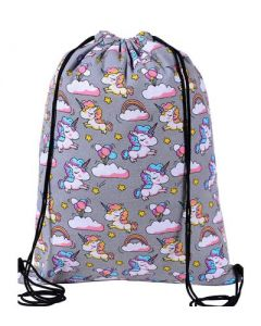 Grey Unicorn Draw String Bag