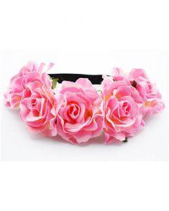 Large pink flowers on elastic