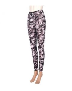Skull leggings blk and white
