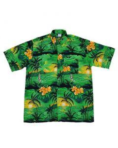 Hawaiian Shirt With Yatch Green