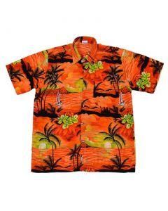 Hawaiian Shirt With Yatch Orange