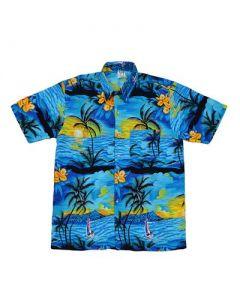 Hawaiian Shirt With Yatch Turquoise