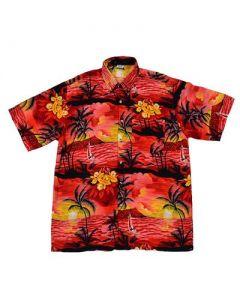 Hawaiian Shirt With Yatch Red