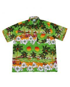 Hawaiian Shirt With Car Green