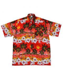 Hawaiian Shirt With Car Red