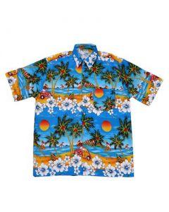 Hawaiian Shirt With Car Turquoise