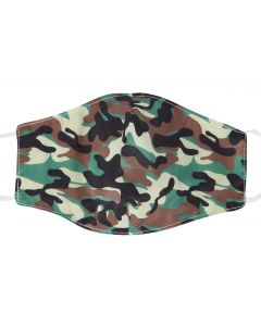 Camo Print Face Mask. Wholesale Washable 3 Layer Face Masks With 2 free Filters, Adjustable Elastic and Plush Packaging M23