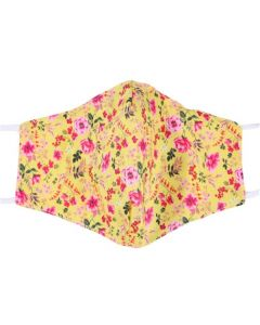 Yellow, Floral, 3 Layer, Adjustable Face Mask With Free Filters and Plush Packaging.