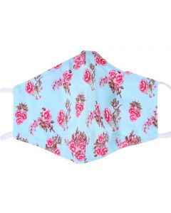 Blue, Floral, 3 Layer, Adjustable Face Mask With Free Filters and Plush Packaging.