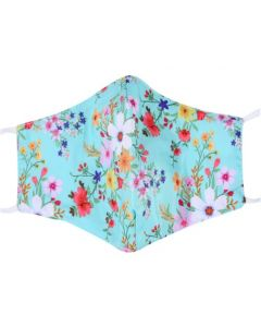 Pretty Floral Print Face Mask With 3 Layers, Adjustable Elastic, Plush Packaging and Free Filters.