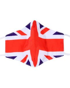Union Jack Print, 3 Layer, Adjustable Face Mask With Free Filters and Plush Packaging