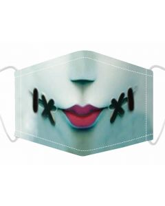 3 Layer, Adjustable Face Mask With Free Filters and Plush Packaging. Stitch Mouth Print.