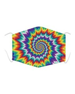 Bright Spiral Print, 3 Layer, Adjustable Face Mask With Free Filters and Plush Packaging