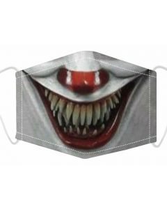 Wholesale 3 Layer Face Mask With Free Filters And Plush Packaging.  Horror Clown Print.