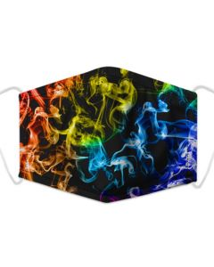 Multi Coloured Flame Print, 3 Layer, Adjustable Face Mask With Free Filters and Plush Packaging
