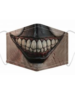 Horror Smile Print, 3 Layer, Adjustable Face Mask With Free Filters and Plush Packaging.