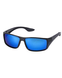 Wrap Around Sunglasses With Blue Mirrored Lens